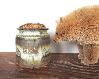 Vintage Studio Pottery Jar With Cork Lid, Large Earthen Pottery Stash Canister, Stoneware Stash Jar, Lidded Kitchen Crock, Storage Jar
