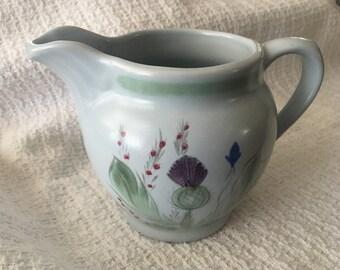 Buchan Thistleware Pitcher, Buchan Thistleware Creamer, Scotland, Buchan Thistleware,Scottish Pottery, Handpainted Pottery Buchan Stoneware