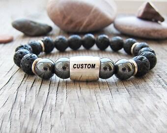 Mens Personalized Gift Boyfriend gift for fathers day gift Mens Gift Customized gift for him Men Bracelet Initial bracelet Engraved bracelet