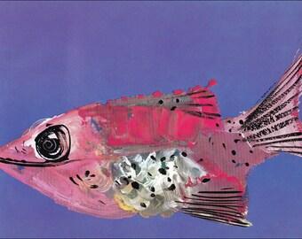 f for fish 60's mid century children's illustration retro nursery decor Brian Wildsmith 7.25x9.75 inches