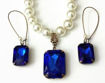 Sapphire and Pearl Jewelry Vintage Sapphire Jewelry Pearl and Sapphire Jewelry Set Bridesmaid's Jewelry Vintage Mexican Glass Pearls