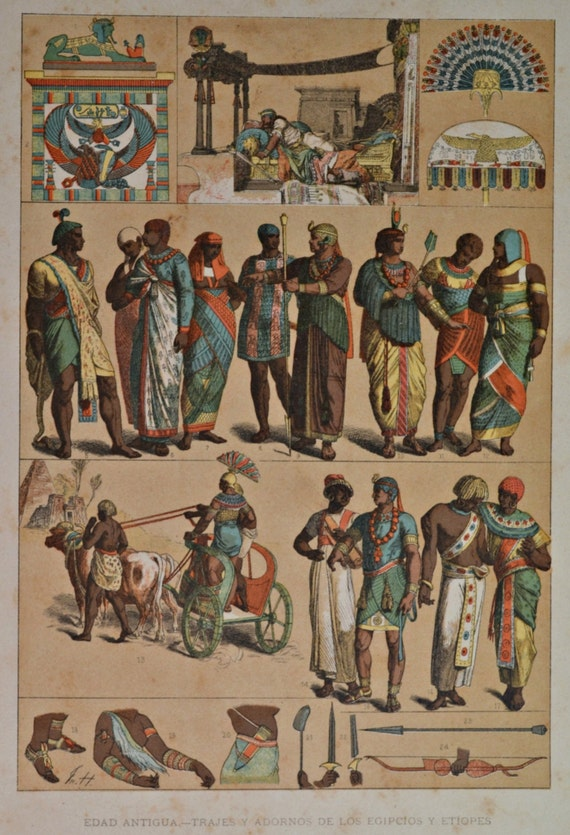 Clothes and ornaments of the Egyptians and Ethiopians in the Ancient History. Antique print, 1894.  121 years old print.  11,5 x 8,4 inches.