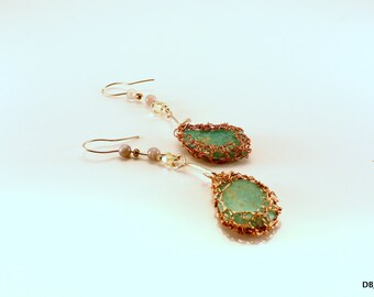 Earrings of silver/copper and chrysoprase