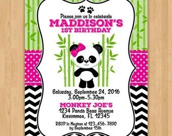 Cute Panda Bear Birthday Invitation