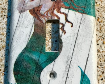 Green Mermaid Light Switch Cover
