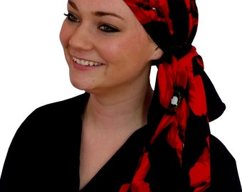 Jessica Pre-Tied Head Scarf, Women's Cancer Headwear, Chemo Scarf, Alopecia Hat, Head Wrap, Head Cover for Hair Loss - Red Poppies
