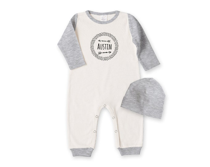 Personalized Newborn Boy Coming Home Outfit, Newborn Boy Outfit, Tesa Babe, Personalized Newborn Outfit, Baby Boy Gray Romper, TesaBabe