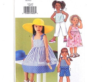 Butterick Toddler's Summer Dress, Top, Shorts & Pants Sewing Pattern #3477 - Cut to Size 4