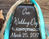 Rustic Wedding Cake Topper. Cowbell, Our Wedding Day, Ring for a Kiss, Kissing Bell, Country, Cowboy, Western, Cowgirl, Decoration, Gift.