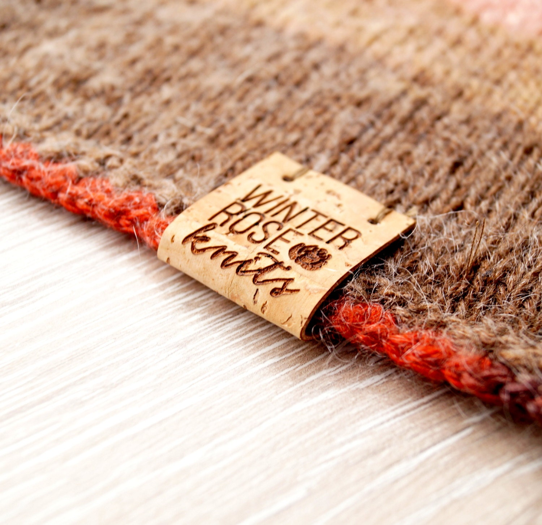 Knitting Labels Handmade : Custom clothing labels center fold cork leather