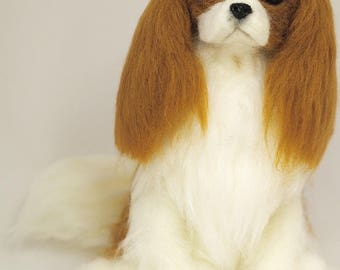 Cavalier King Charles spaniel,Unique Realistic figurine,Needle felted Cavalier,OOAK figurine,Art Sculpture, spaniel gift,loss memorial