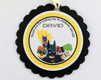 Set of 12 Personalized Lego Batman Favor Tags, Lego Batman Thank you Tags, Lego Batman Gift Tags, Lego Batman Tags, Lego Batman Party.