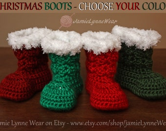 Crochet Christmas Boots - Christmas Booties - Made to order
