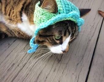 Crochet Cat Dog Hat Unique Handmade Green Blue Ombré Pet Accessories