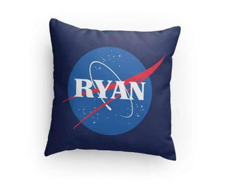 "NASA Inspired 14"" x 14"" Pillow - Personalize with Name & Colors! Perfect Gift for Any Space Enthusiast or Future Astronaut!"