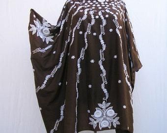 Chocolate brown caftan, sequinned kaftan, Plus size Caftan, upcycled tunic, cover up, summer dress, boho caftan, 1x 2x 3x 4x 5x 6x 7x 8x