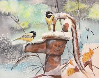 Chickadee In Snow Watercolor Original Art , Chickadee Bird painting, Winter Art, Birds in art, Birds in Snow, Handmade Original Watercolors