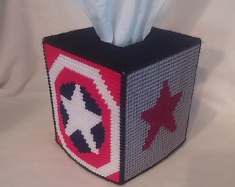 Needle Art, Plastic Canvas Tissue Box Cover ~ End of the LIne