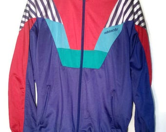 Vintage 80s90s trackJacket Adidas trefoil colorblock jacket  VINTAGE 80s90s WINDBREAKER Adidas Blue+Red Striped  Jacket ZipUp US Size 6 L