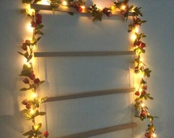 Pink rose bud 40 led lights garland - 40 led fairy lights garland - Flower string lights