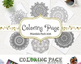 SALE Mandala Coloring Page Printable Floral Coloring Adult Coloring Book AntiStress Art Therapy Instant Download Zen Digital Printable Art