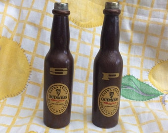 Vintage Guinness Wooden Salt and Pepper Shakers