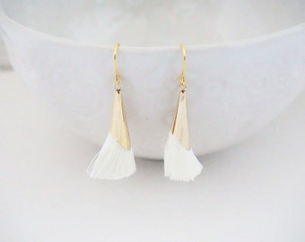 SALE // Gold and Cream Tassel Earrings