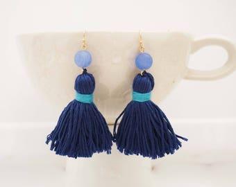 Blue Beaded Tassel Earrings