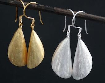 Silver Drop Earrings, Gold Drop Earrings, Matt Gold Earrings, Matt Silver Earrings, Textured Silver, Unusual Earrings, Statement Earrings