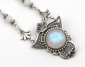 Moonstone Necklace, Rainbow Moonstone Jewelry, Boho Necklace, Bohemian Moonstone Jewelry, June Birthstone, Boho Gift, Girlfriend, Wife, Me