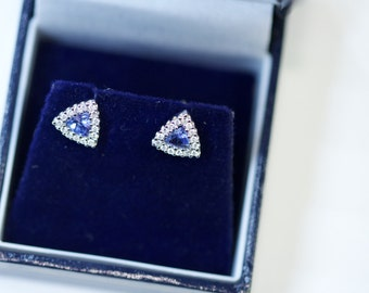 A Pair of 18k Tanzanite and Diamond Earrings