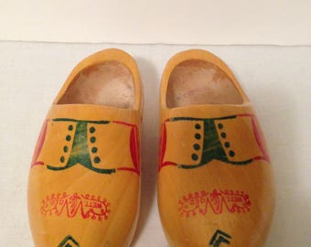 Vintage WETT GED Hand Carved Wooden Shoes, Dutch  Holland Shoes, One Pair Child Size, Wett. Ged. VV. Decorated Shoes, Collectible, Clogs
