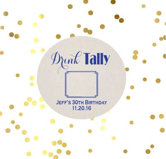 Drink tally coasters, Birthday coasters, personalized paper coasters, Birthday party favor, party coasters, reception coaster