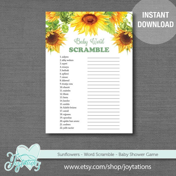 Sunflower Word Scramble Baby Shower Game Printable Instant Download