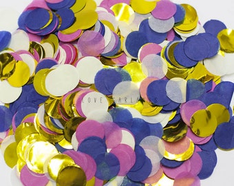 Navy Hot Pink Ivory Gold Round Confetti, Navy Pink Ivory Gold Circle Confetti, Wedding Confetti, Bridal Shower Confetti, Balloon Confetti