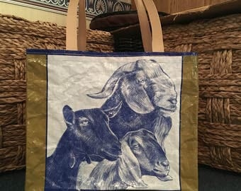 Recycled, Repurposed Purina Noble Goat Feed Bag Tote With Commerical Webbing Straps, GROCERY BAG, Reusable Bag Market Tote