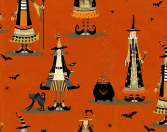 Orange Witch Fabric-Witchy-Studio E-Witchy Fabric-Halloween Fabric-Fall Fabric-Halloween Quilt Fabric-Orange Witch Fabric-Witch Quilt Fabric