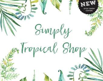 Premade Etsy Shop Banner Set, Tropical shop banner, Organic shop Banner, Jewelry Branding, Shop Cover Leaf, Custom Etsy Banner