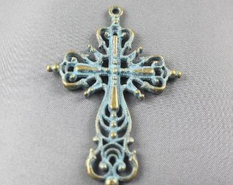 Cross pendant, Turquoise Patina Coating 64x42mm
