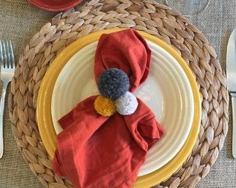 PomPom Napkin Holder, Napkin Ring, Napkin Holder, Pom Pom Napkin Ring Set of 4, Table Decor, PomPoms, Hostess Gift, Napkin Bands, Pom Pom