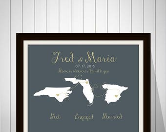 Met, Engaged, Married Maps, Fiance, Husband, Personalized Gift, Maps, Travel, Names, Date, Engagement, Anniversary, Honeymoon Gold - 70777