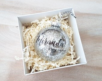 Personalized BABY'S FIRST CHRISTMAS Ornament gift with calligraphy - One (Silver)