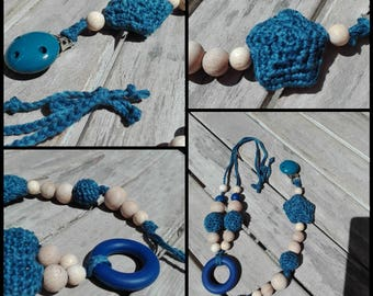 Teething necklace and pacifier blue children