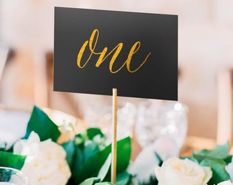 Asterism Gold Foil Table Numbers - Black Paper - Two Sided - Wedding Table Numbers with Gold / Silver / Rose Gold Foil by Pineapple