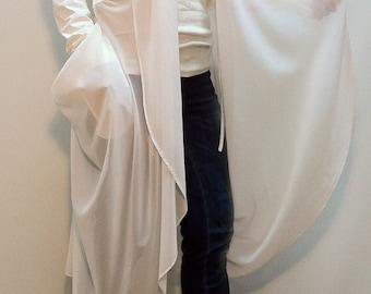 White Summer Coat/Long Jacket / Long Tunic/Cotton Trench/Summer Trench/Trench from Cotton and Chiffon/Quality Vest/F1149