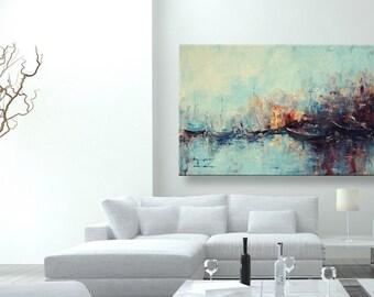 "oil painting, modern art, ""Foggy pier"", canvas art, paintings on canvas, wall art, abstract painting, canvas art, canvas painting"