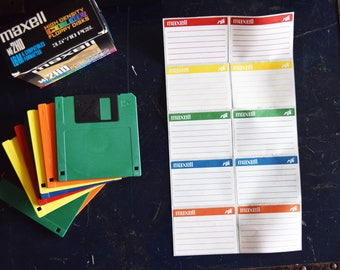 """Maxell 3.5"""" Floppy Disks - Set of 8 - MF2HD - Assorted Colors - Vintage Data Storage - 3 And A Half Inch - Retro Computer Parts"""