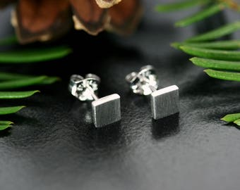 Square silver earrings, Silver stud earrings, Square stud earrings, Minimalist stud earrings, Square earrings, Minimalist earrings silver