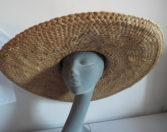 Vintage Ladies Hat 1960's  VERY Large Brimmed Real Floppy STRAW HAT By Corrine Hatton  Ideal for summer can embellish with scarves etc