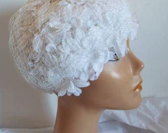 Vintage Ladies Hat 1950's in White Shaped Hat with tulle flowers covered in veil By C & A